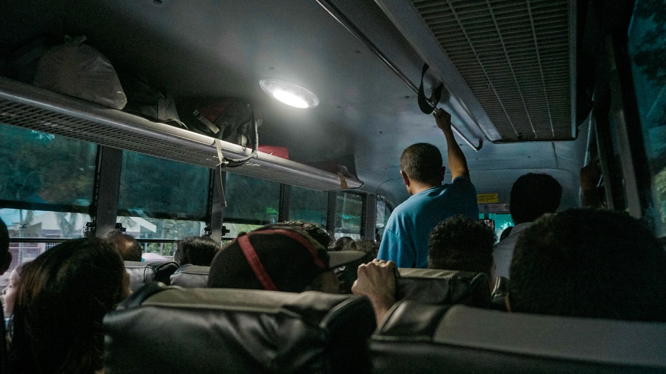 Inside a Ceres non-aircon bus
