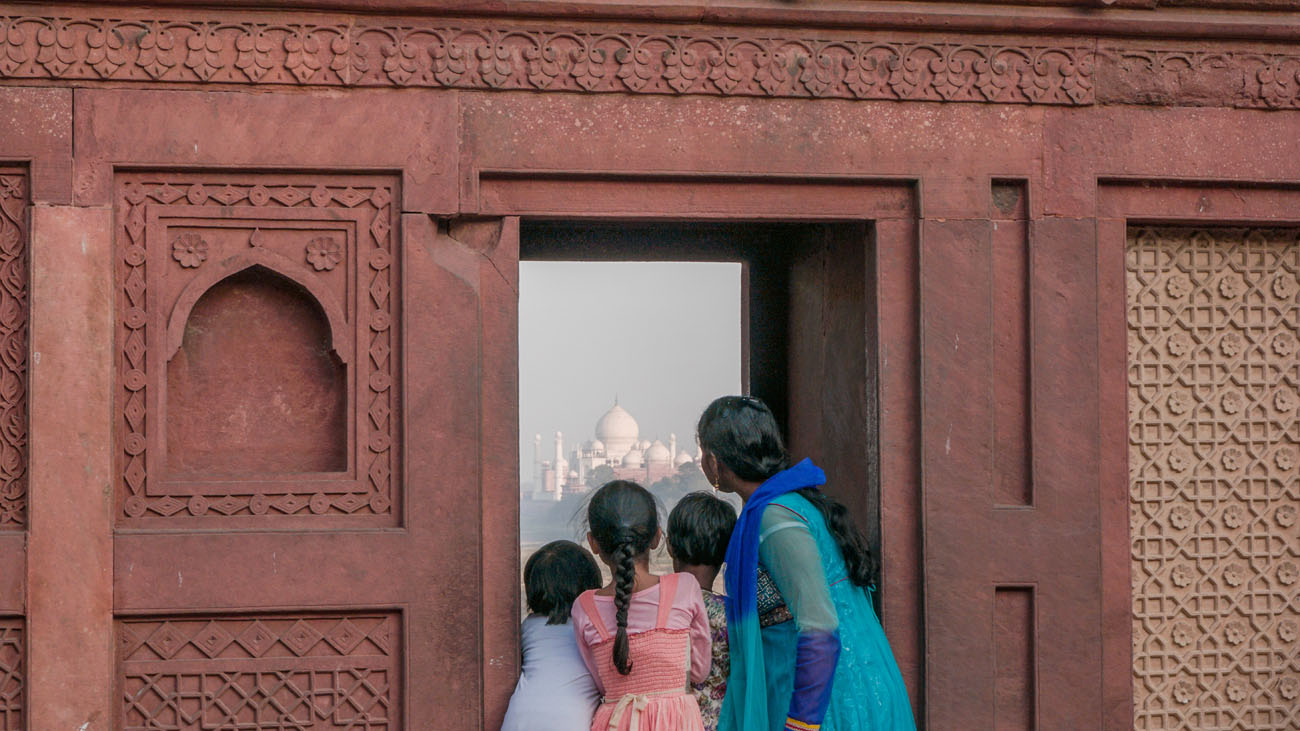 View of Taj Mahal from one of the windows at Agra Fort