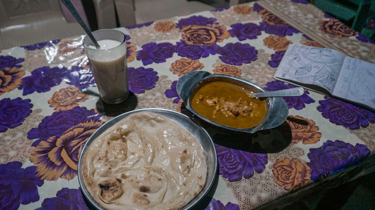 Banana Lassi, Naan, and Buttered Chicken at Join Us Restaurant