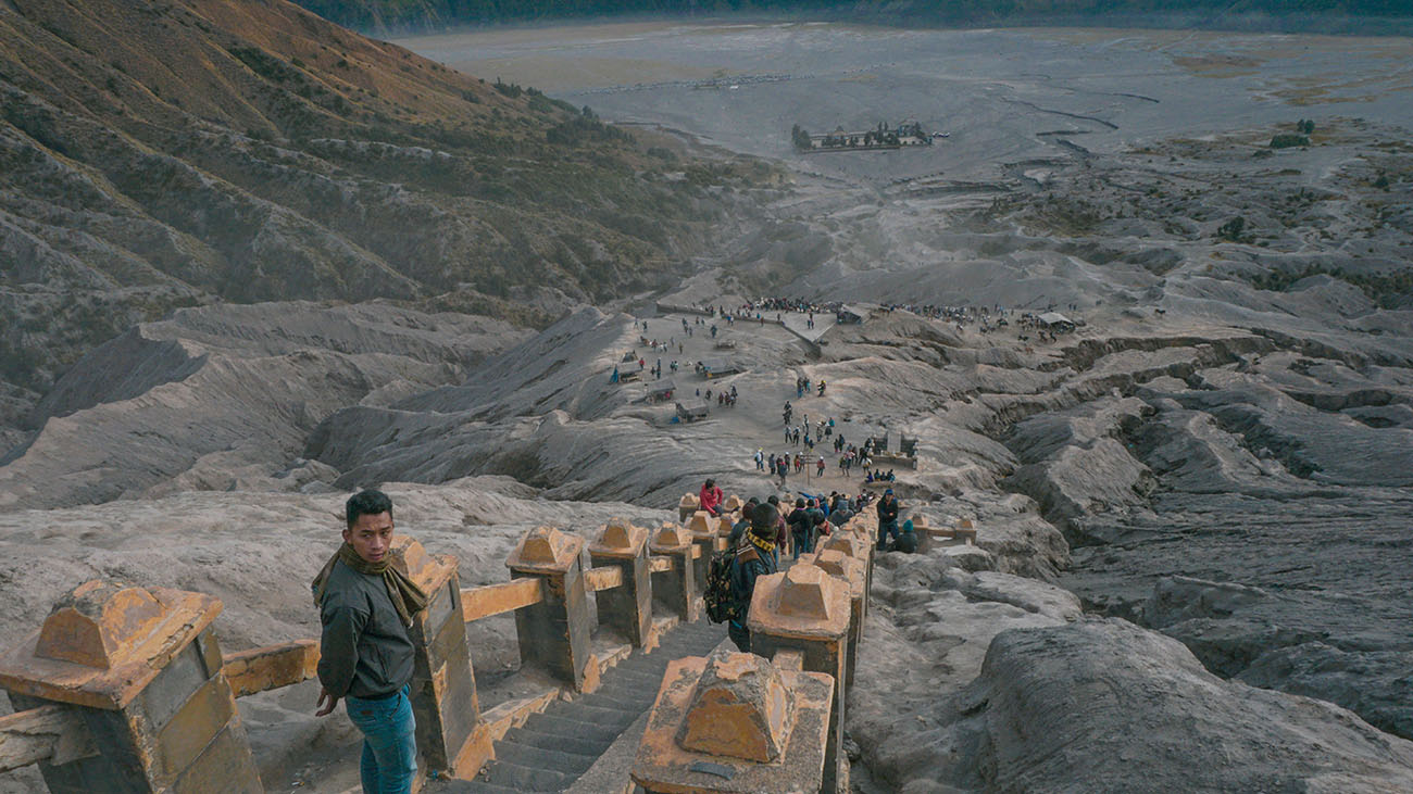 View of the trail to the crater of Mt. Bromo
