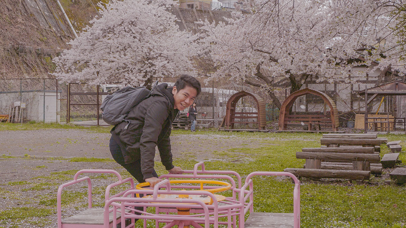 Me playing at a playground in Yamanouchi