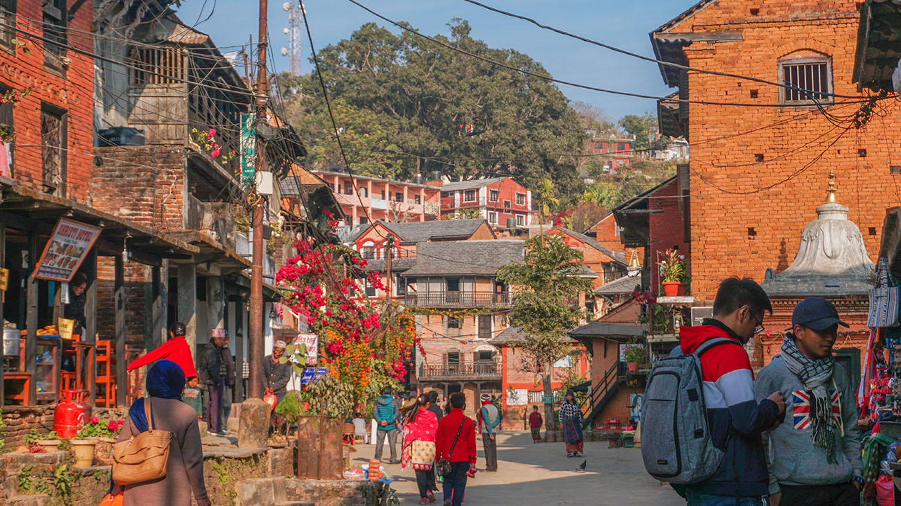 Street at the hilltop village of Bandipur