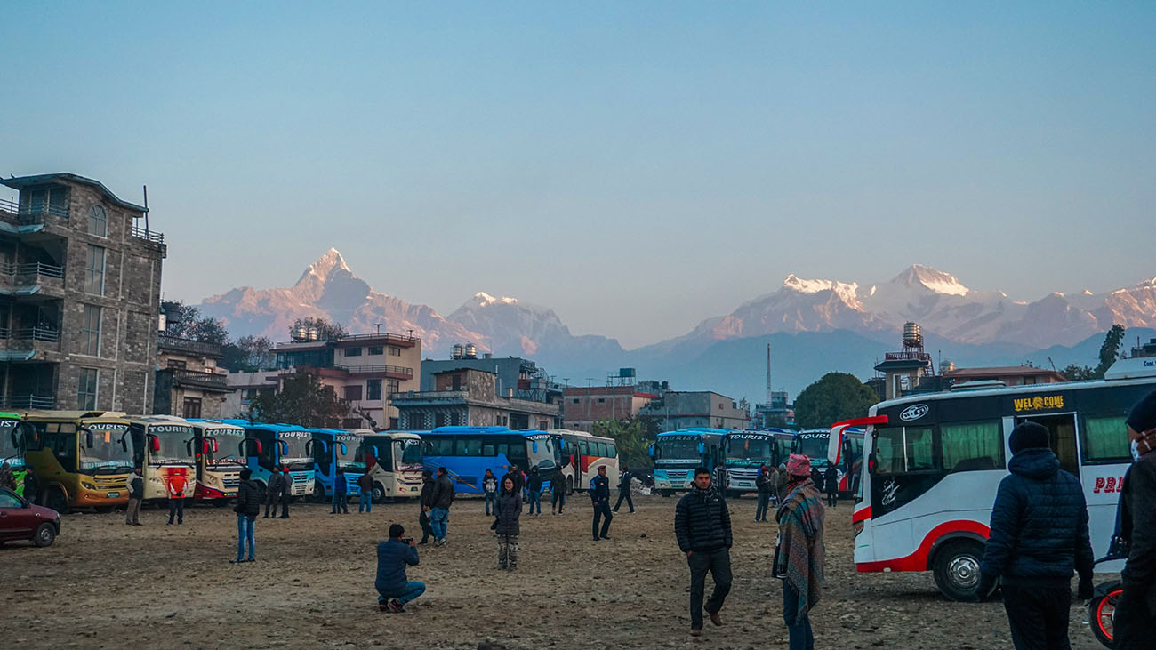 Early morning view at the bus station in Pokhara