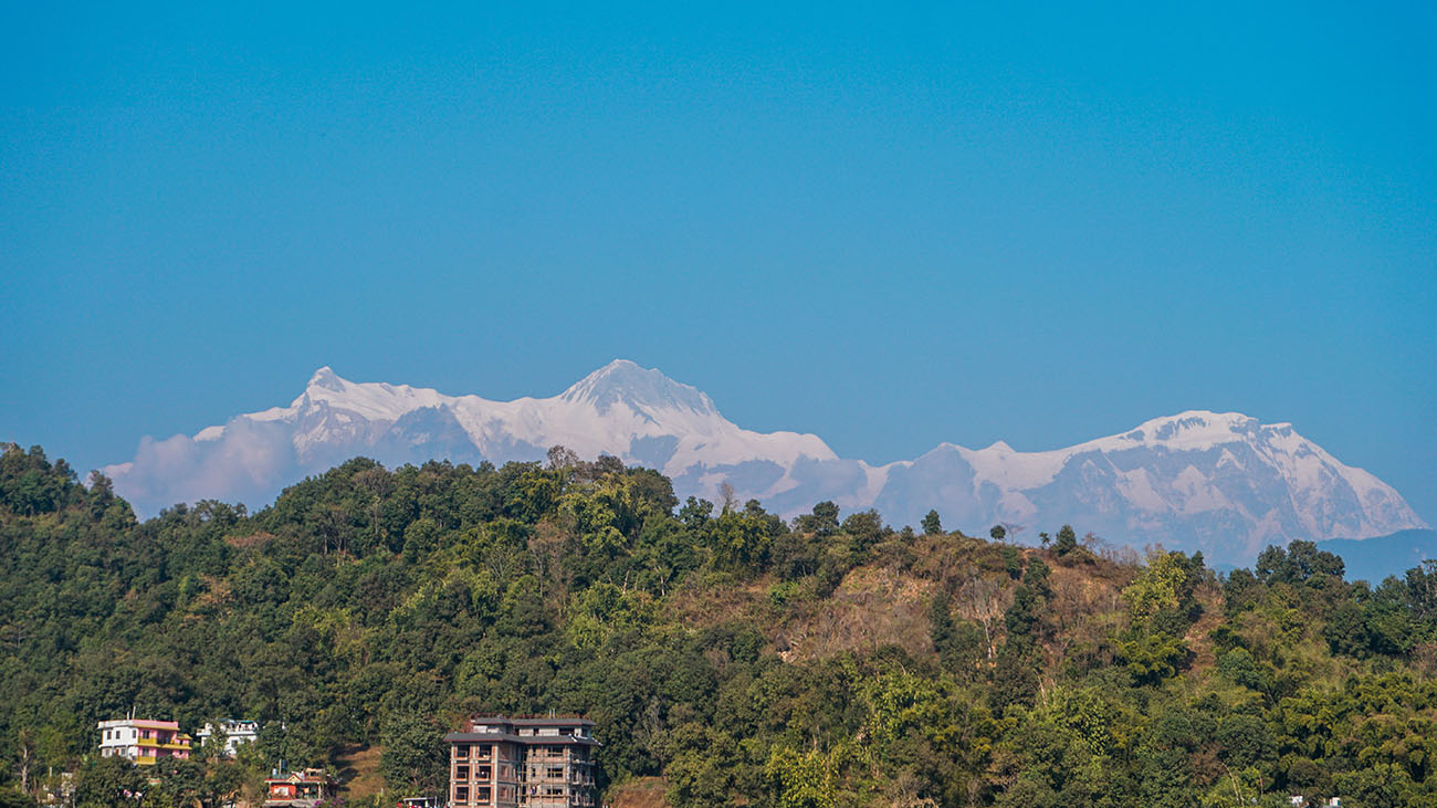 View of the Annapurnas from our hotel rooftop
