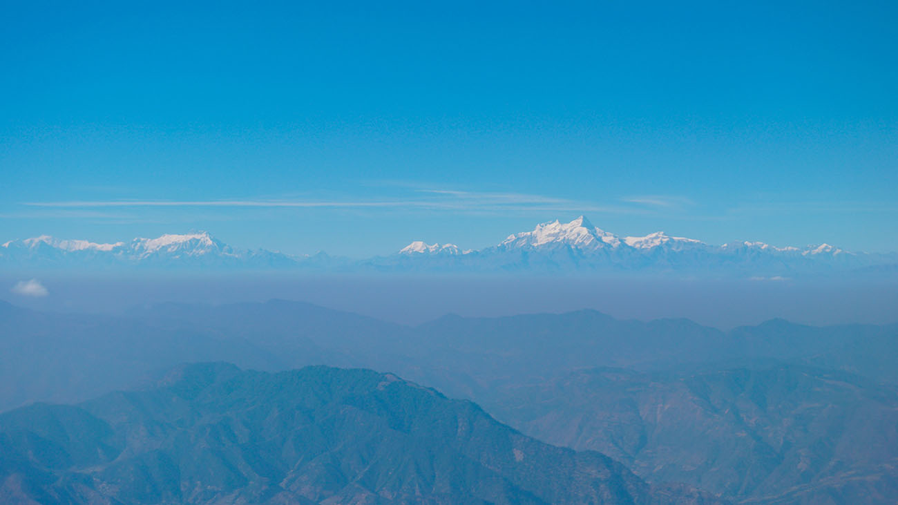 View from the airplane window on the way to Kathmandu
