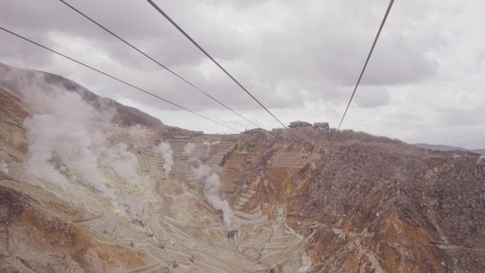 View of the sulfur vents from the Hakone Ropeway