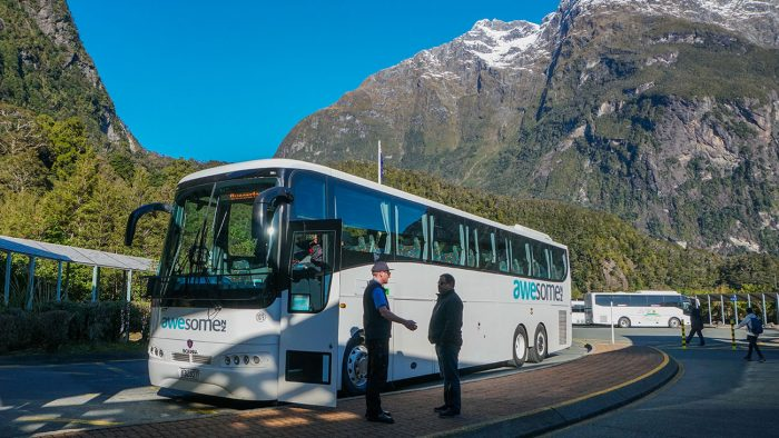 Our AwesomeNZ InterCity bus that took us to and from Milford Sound