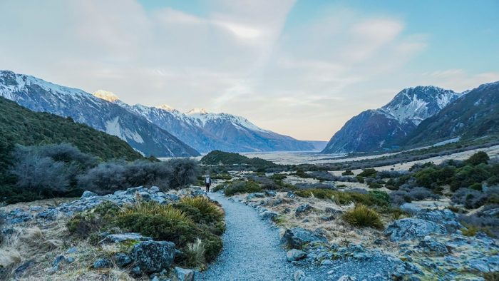 Kea Point walking trail at Mount Cook National Park