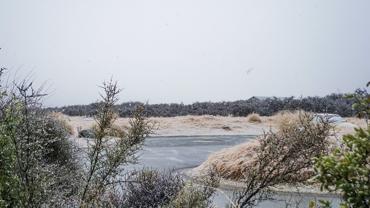 Unexpected snowfall on our last day at the village
