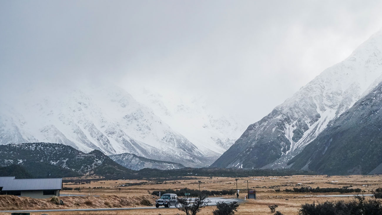 Mount Cook Village on a gloomy day